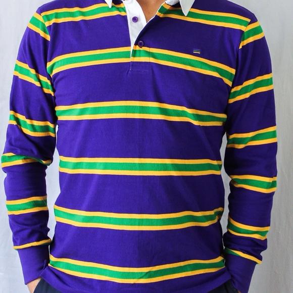 30efb17a Poree's Embroidery Shirts | Mardi Gras Purple Infinity Striped Rugby ...